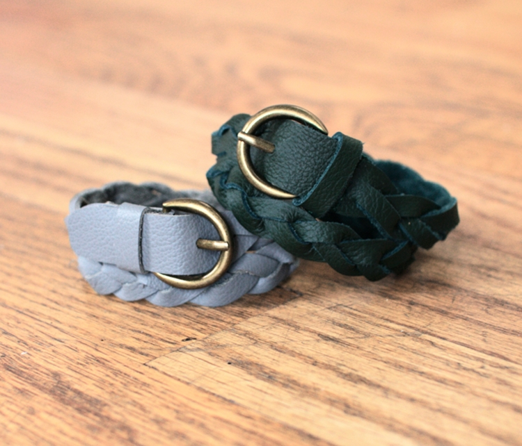 Leather mystery braid bracelet
