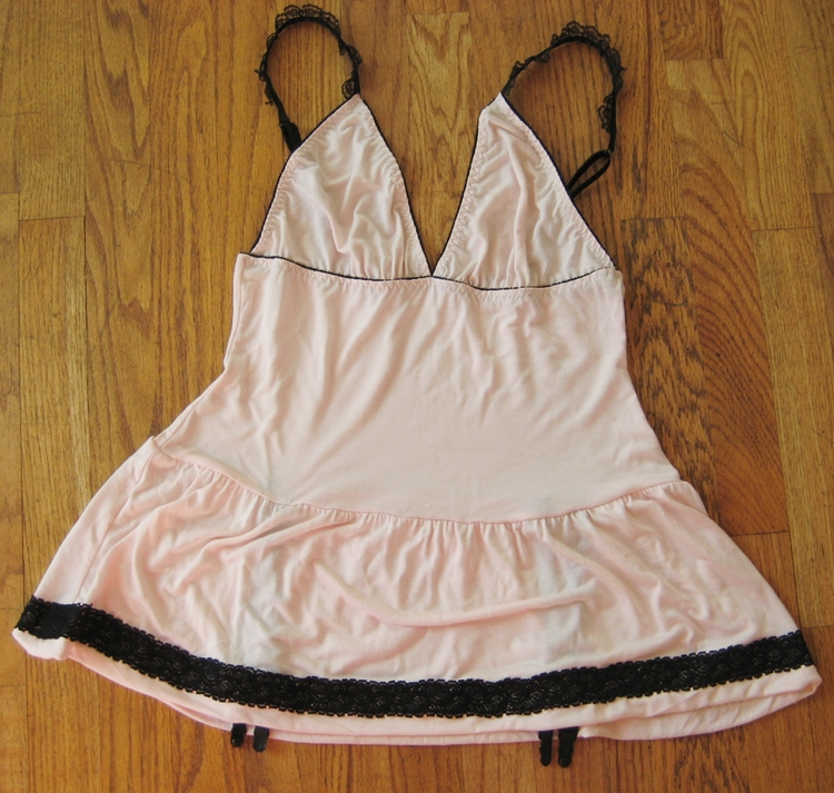 Pretty pink slip with lace and garters