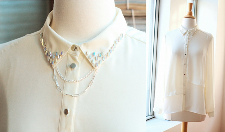 Decorated shirt color with Swarovski crystal