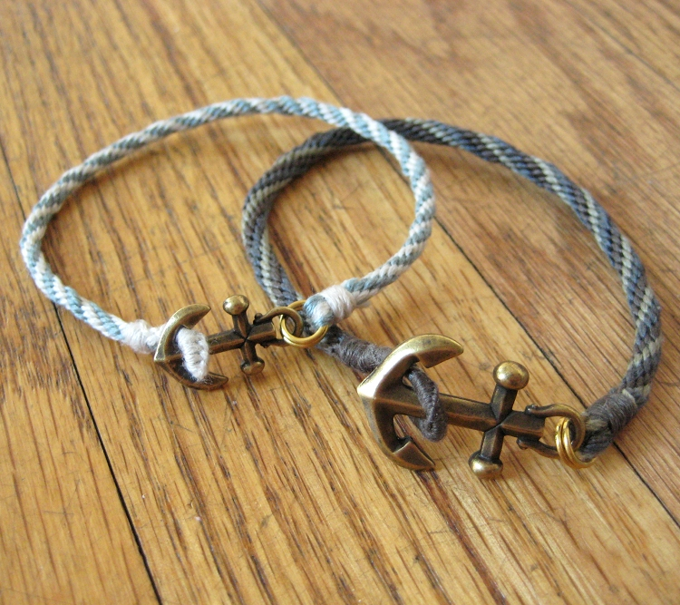 Braided Bracelet with Anchor Charm