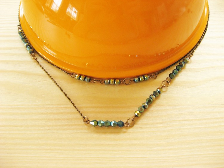 Multi-Strand Chain And Bead Necklace