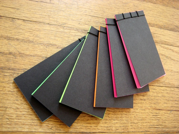 How To Make A Book Cover Out Of Notebook Paper : Stab bound mini neon notebooks how did you make this