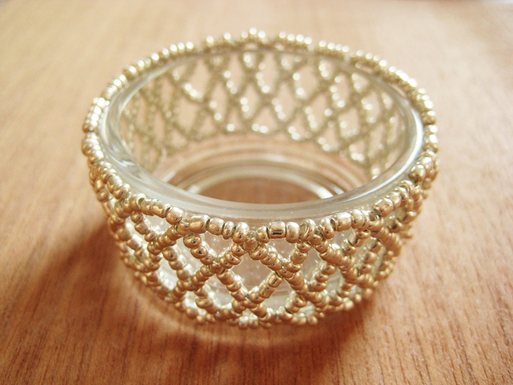 Beaded Lace Candle Holder