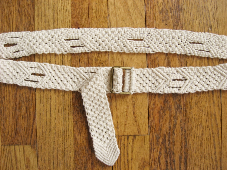 Belt made with nautical style macrame knotting.