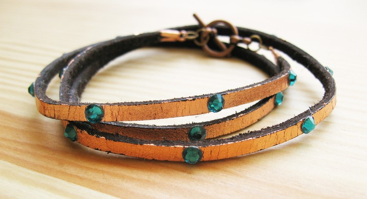 Leather, Metal, and Crystals Multi-Wrap Bracelet