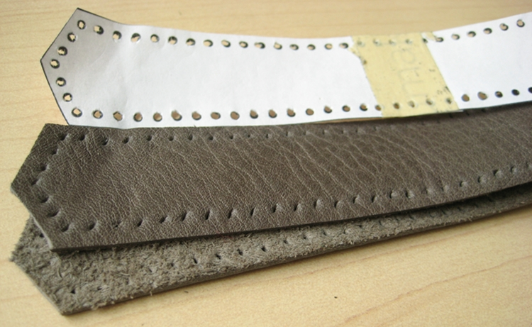 preparing leather for sewing