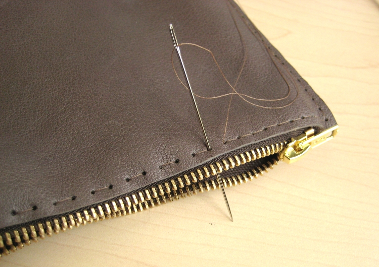 adding a zipper to leather bag