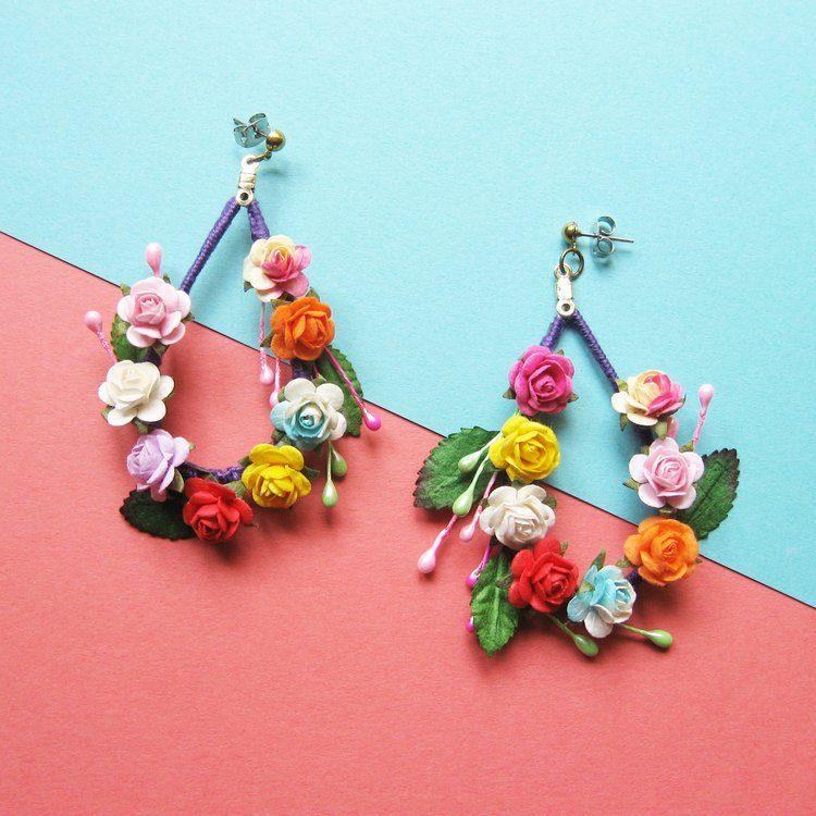 GreenBluePurple Lace Pattered Flower Statement Earrings